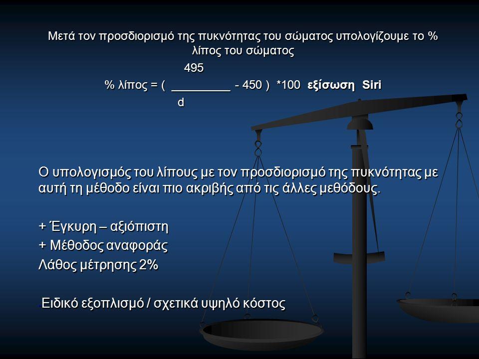 Μετά τον προσδιορισμό της πυκνότητας του σώματος υπολογίζουμε το % λίπος του σώματος 495 495 % λίπος = ( _________ - 450 ) *100 εξίσωση Siri d Ο υπολογισμός του λίπους με τον προσδιορισμό της πυκνότητας με αυτή τη μέθοδο είναι πιο ακριβής από τις άλλες μεθόδους.