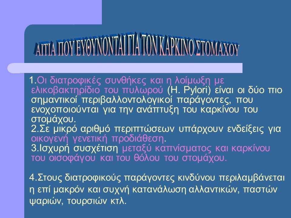 1.Οι διατροφικές συνθήκες και η λοίμωξη με ελικοβακτηρίδιο του πυλωρού (H.