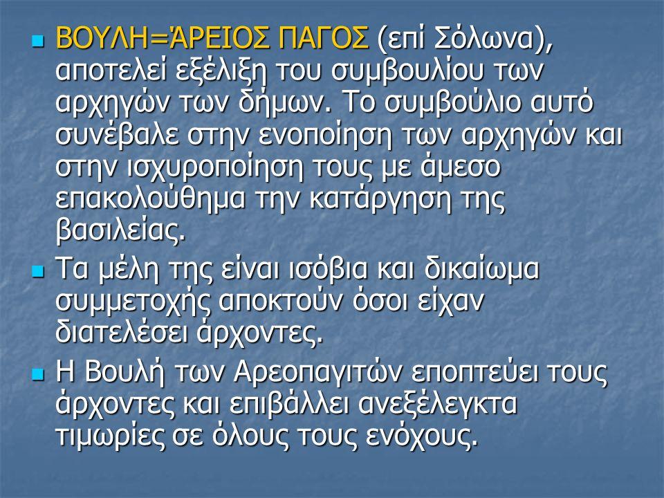 ΒΟΥΛΗ=ΆΡΕΙΟΣ ΠΑΓΟΣ (επί Σόλωνα), αποτελεί εξέλιξη του συμβουλίου των αρχηγών των δήμων.