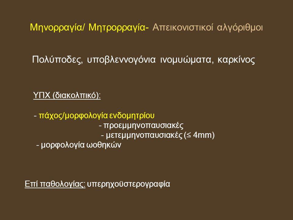 Μηνορραγία/ Μητρορραγία- Απεικονιστικοί αλγόριθμοι Πολύποδες, υποβλεννογόνια ινομυώματα, καρκίνος ΥΠΧ (διακολπικό): - πάχος/μορφολογία ενδομητρίου - προεμμηνοπαυσιακές - μετεμμηνοπαυσιακές (≤ 4mm) - μορφολογία ωοθηκών Επί παθολογίας: υπερηχοϋστερογραφία