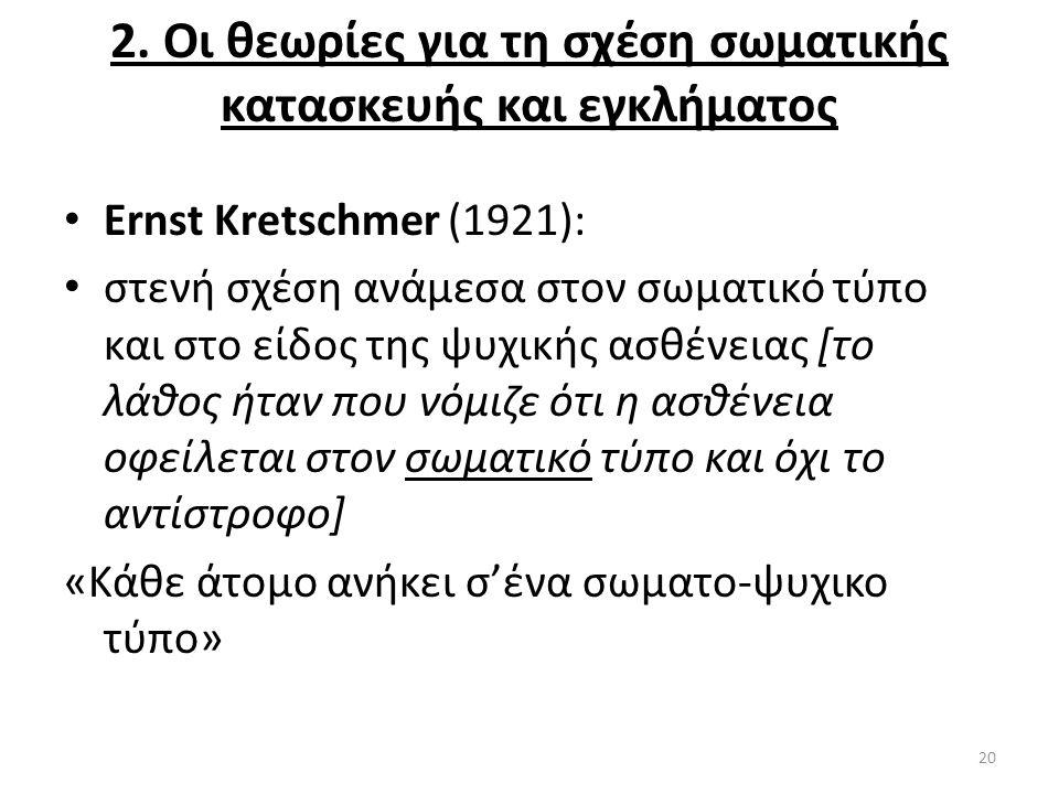 2. Οι θεωρίες για τη σχέση σωματικής κατασκευής και εγκλήματος Ernst Kretschmer (1921): στενή σχέση ανάμεσα στον σωματικό τύπο και στο είδος της ψυχικ