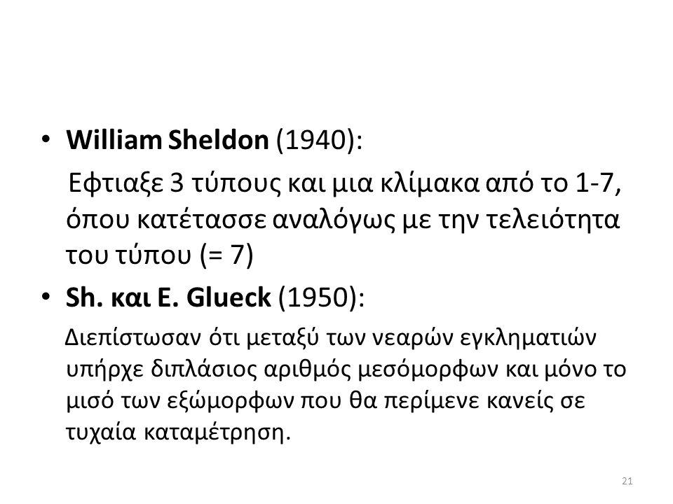 William Sheldon (1940): Εφτιαξε 3 τύπους και μια κλίμακα από το 1-7, όπου κατέτασσε αναλόγως με την τελειότητα του τύπου (= 7) Sh.