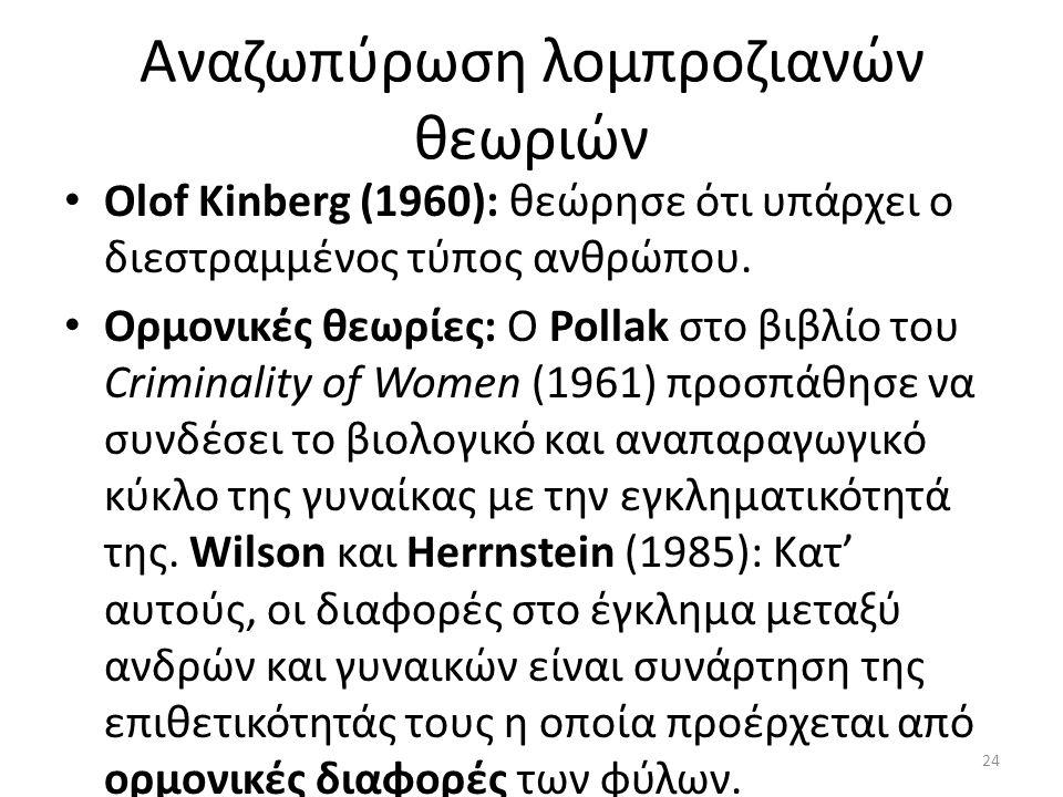 Αναζωπύρωση λομπροζιανών θεωριών Olof Kinberg (1960): θεώρησε ότι υπάρχει ο διεστραμμένος τύπος ανθρώπου.