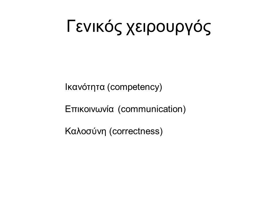 Γενικός χειρουργός Ικανότητα (competency) Επικοινωνία (communication) Καλοσύνη (correctness)