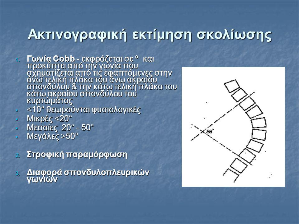 Ακτινογραφική εκτίμηση σκολίωσης 1. Γωνία Cobb - εκφράζεται σε º και προκύπτει από την γωνία που σχηματίζεται από τις εφαπτόμενες στην άνω τελική πλάκ