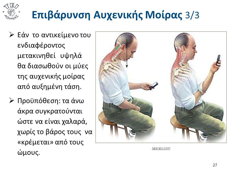 Επιβάρυνση Αυχενικής Μοίρας 3/3  Εάν το αντικείμενο του ενδιαφέροντος μετακινηθεί υψηλά θα διασωθούν οι μύες της αυχενικής μοίρας από αυξημένη τάση.