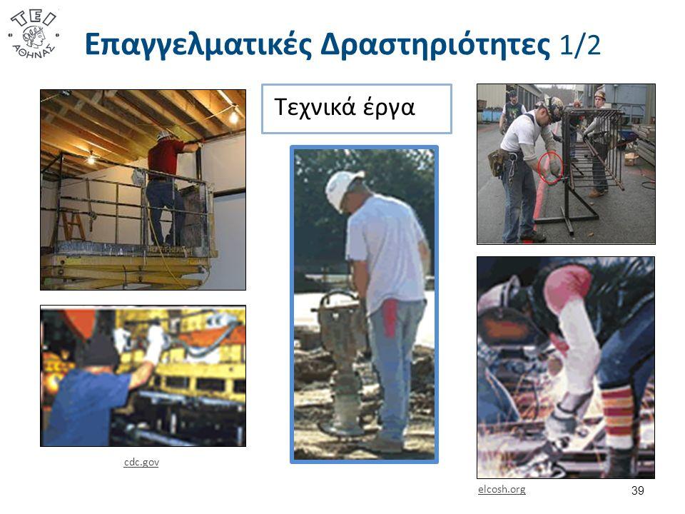 39 elcosh.org cdc.gov Επαγγελματικές Δραστηριότητες 1/2 Τεχνικά έργα