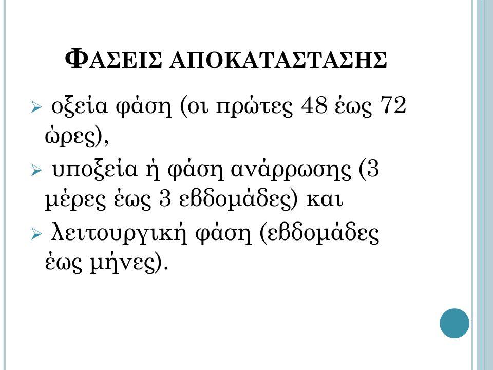 Φ ΑΣΕΙΣ ΑΠΟΚΑΤΑΣΤΑΣΗΣ  οξεία φάση (οι πρώτες 48 έως 72 ώρες),  υποξεία ή φάση ανάρρωσης (3 μέρες έως 3 εβδομάδες) και  λειτουργική φάση (εβδομάδες