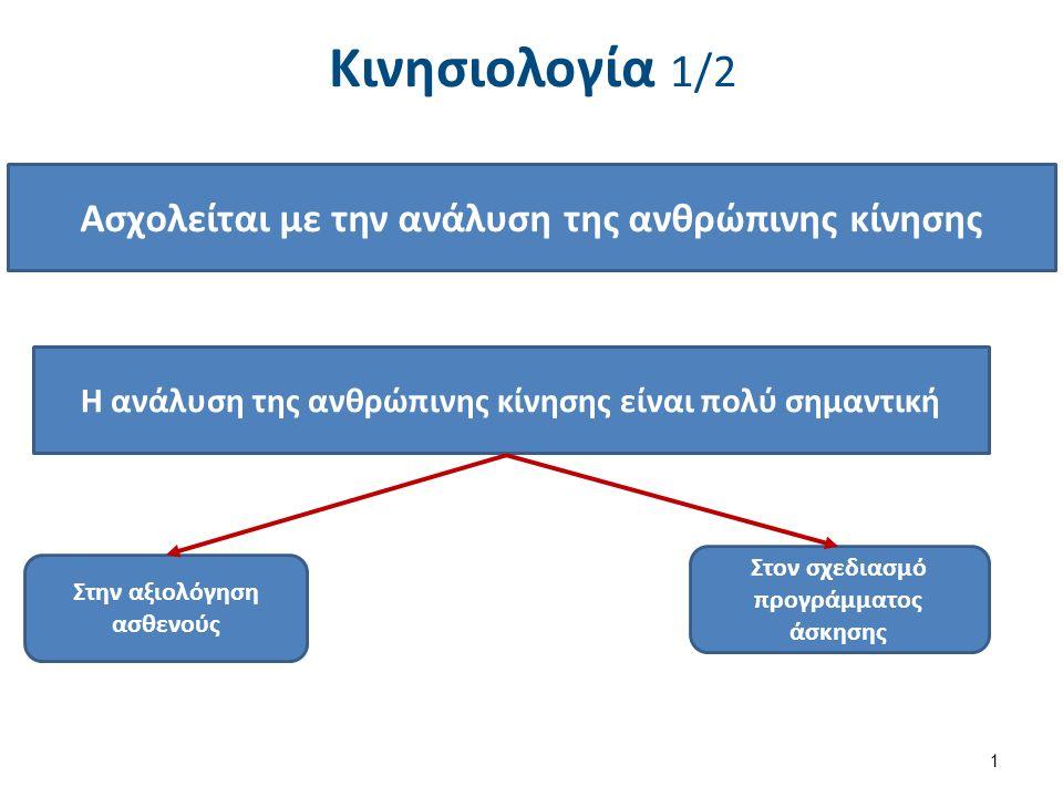 Κινησιολογία 1/2 1 Ασχολείται με την ανάλυση της ανθρώπινης κίνησης Η ανάλυση της ανθρώπινης κίνησης είναι πολύ σημαντική Στην αξιολόγηση ασθενούς Στον σχεδιασμό προγράμματος άσκησης