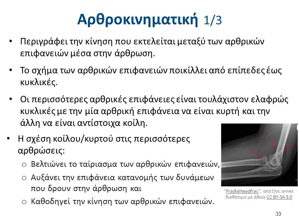 Αρθροκινηματική 1/3 Περιγράφει την κίνηση που εκτελείται μεταξύ των αρθρικών επιφανειών μέσα στην άρθρωση.