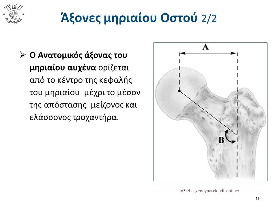 Άξονες μηριαίου Οστού 2/2  Ο Ανατομικός άξονας του μηριαίου αυχένα ορίζεται από το κέντρο της κεφαλής του μηριαίου μέχρι το μέσον της απόστασης μείζονος και ελάσσονος τροχαντήρα.