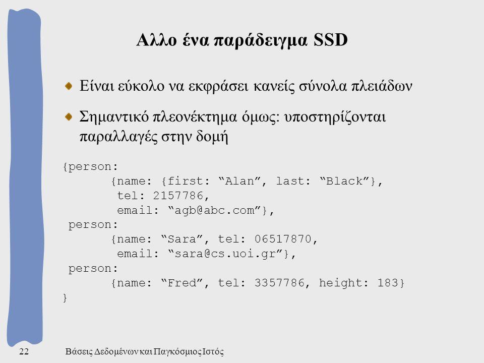 Βάσεις Δεδομένων και Παγκόσμιος Ιστός22 Αλλο ένα παράδειγμα SSD Είναι εύκολο να εκφράσει κανείς σύνολα πλειάδων Σημαντικό πλεονέκτημα όμως: υποστηρίζονται παραλλαγές στην δομή {person: {name: {first: Alan , last: Black }, tel: 2157786, email: agb@abc.com }, person: {name: Sara , tel: 06517870, email: sara@cs.uoi.gr }, person: {name: Fred , tel: 3357786, height: 183} }