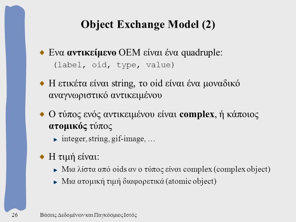 Βάσεις Δεδομένων και Παγκόσμιος Ιστός26 Object Exchange Model (2) Ενα αντικείμενο ΟΕΜ είναι ένα quadruple: (label, oid, type, value) Η ετικέτα είναι string, το oid είναι ένα μοναδικό αναγνωριστικό αντικειμένου Ο τύπος ενός αντικειμένου είναι complex, ή κάποιος ατομικός τύπος integer, string, gif-image, … Η τιμή είναι: Μια λίστα από oids αν ο τύπος είναι complex (complex object) Μια ατομική τιμή διαφορετικά (atomic object)