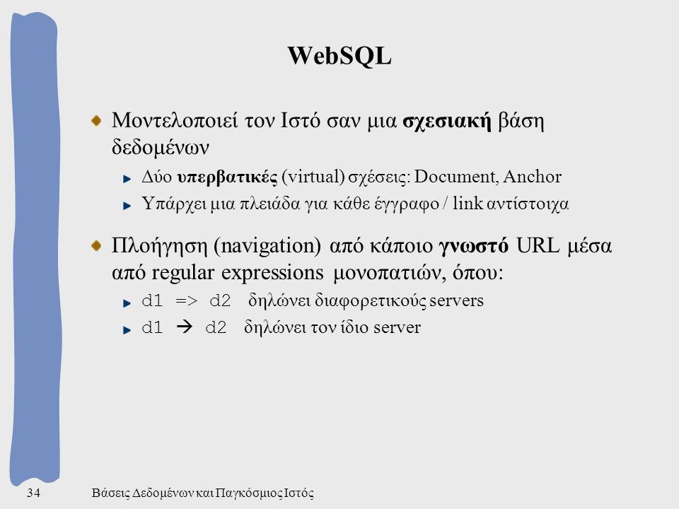 Βάσεις Δεδομένων και Παγκόσμιος Ιστός34 WebSQL Μοντελοποιεί τον Ιστό σαν μια σχεσιακή βάση δεδομένων Δύο υπερβατικές (virtual) σχέσεις: Document, Anchor Υπάρχει μια πλειάδα για κάθε έγγραφο / link αντίστοιχα Πλοήγηση (navigation) από κάποιο γνωστό URL μέσα από regular expressions μονοπατιών, όπου: d1 => d2 δηλώνει διαφορετικούς servers d1  d2 δηλώνει τον ίδιο server