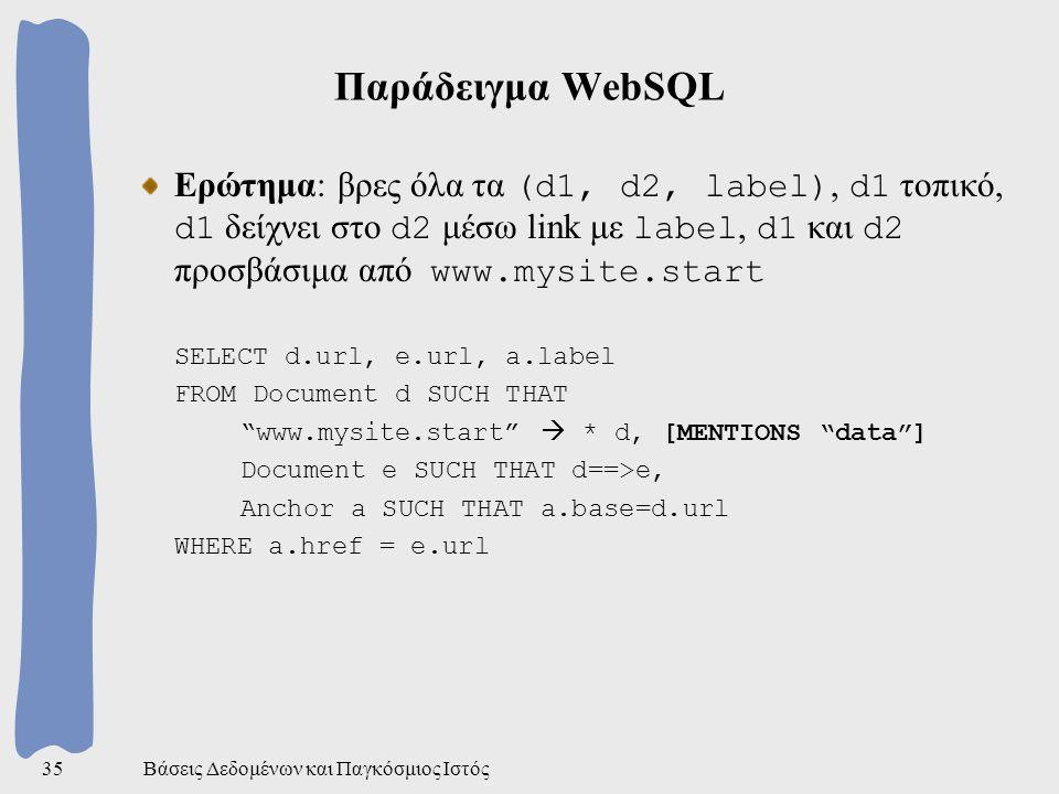 Βάσεις Δεδομένων και Παγκόσμιος Ιστός35 Παράδειγμα WebSQL Ερώτημα: βρες όλα τα (d1, d2, label), d1 τοπικό, d1 δείχνει στο d2 μέσω link με label, d1 και d2 προσβάσιμα από www.mysite.start SELECT d.url, e.url, a.label FROM Document d SUCH THAT www.mysite.start  * d, [MENTIONS data ] Document e SUCH THAT d==>e, Anchor a SUCH THAT a.base=d.url WHERE a.href = e.url
