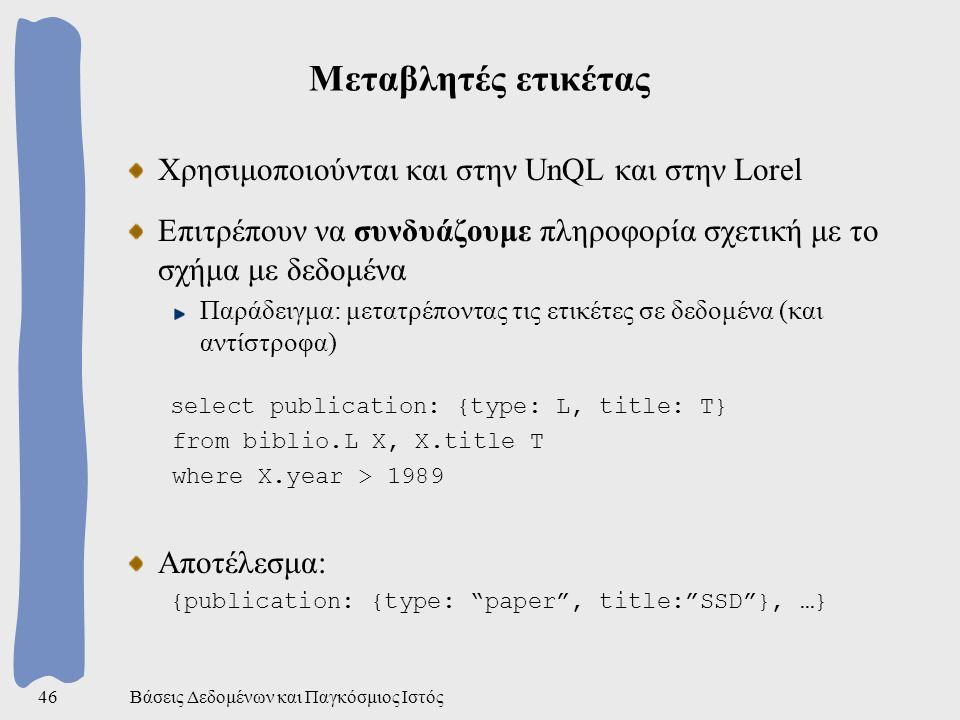 Βάσεις Δεδομένων και Παγκόσμιος Ιστός46 Μεταβλητές ετικέτας Χρησιμοποιούνται και στην UnQL και στην Lorel Επιτρέπουν να συνδυάζουμε πληροφορία σχετική με το σχήμα με δεδομένα Παράδειγμα: μετατρέποντας τις ετικέτες σε δεδομένα (και αντίστροφα) select publication: {type: L, title: T} from biblio.L X, X.title T where X.year > 1989 Αποτέλεσμα: {publication: {type: paper , title: SSD }, …}