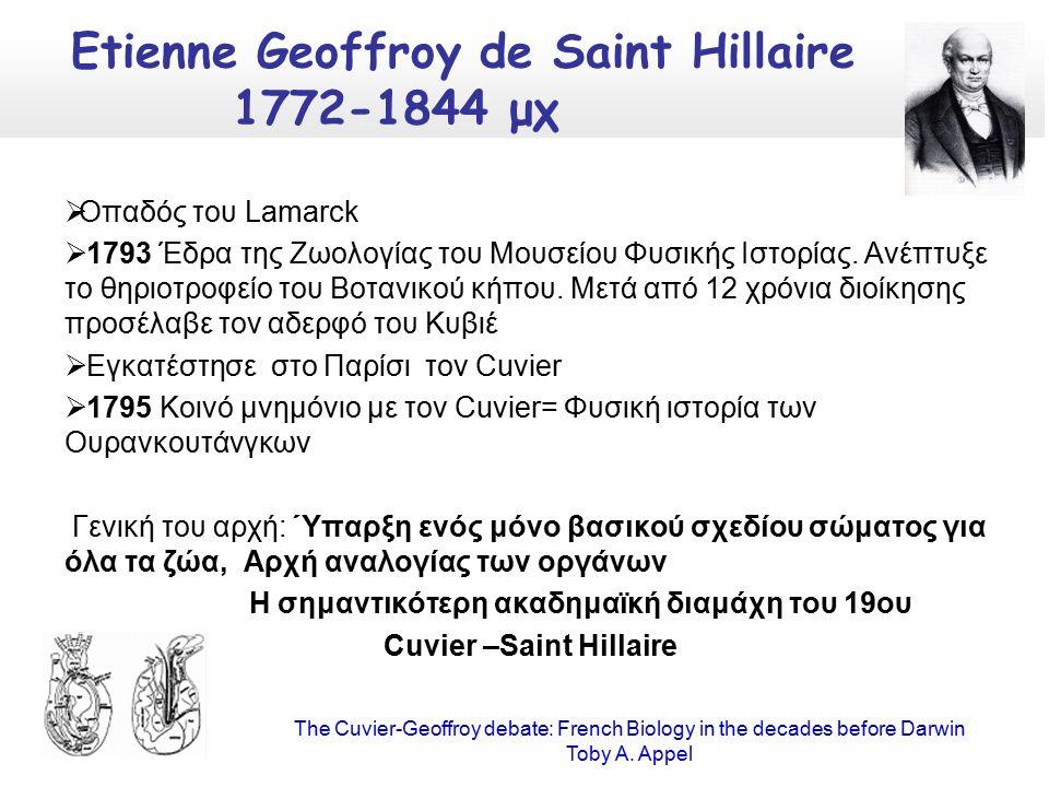 Οπαδός του Lamarck  1793 Έδρα της Ζωολογίας του Μουσείου Φυσικής Ιστορίας.