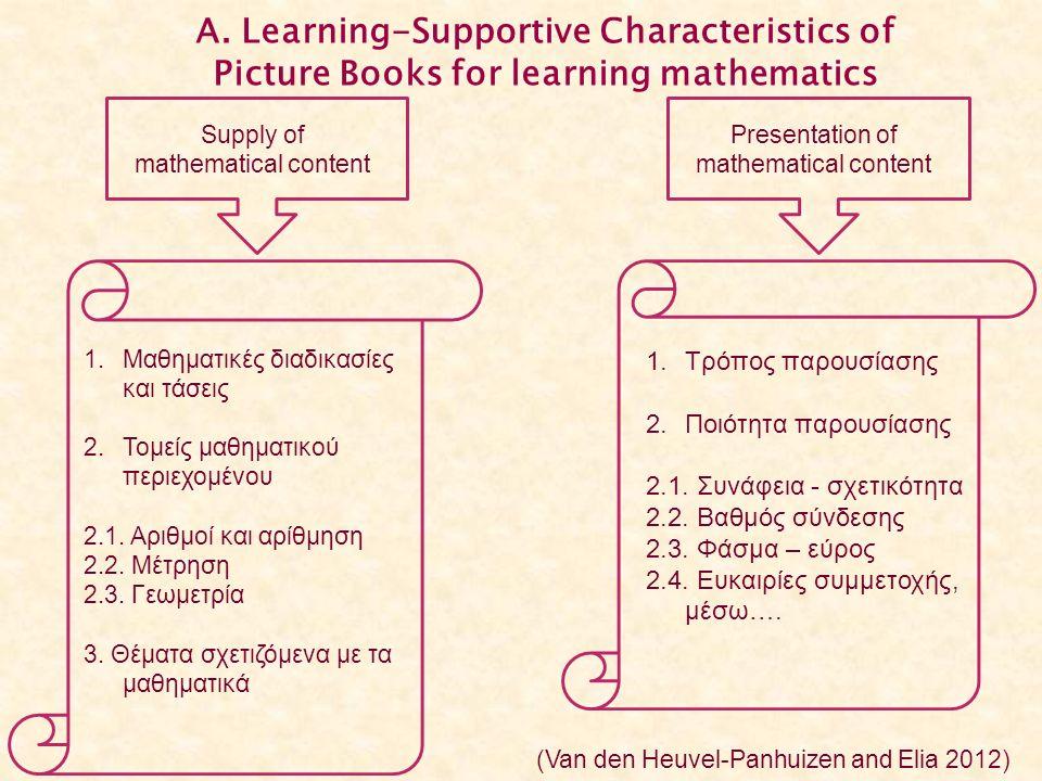 Α. Learning-Supportive Characteristics of Picture Books for learning mathematics Supply of mathematical content Presentation of mathematical content 1