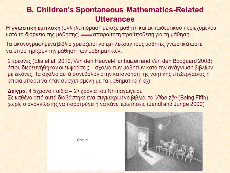 Β. Children's Spontaneous Mathematics-Related Utterances Η γνωστική εμπλοκή (αλληλεπίδραση μεταξύ μαθητή και εκπαιδευτικού περιεχομένου κατά τη διάρκε