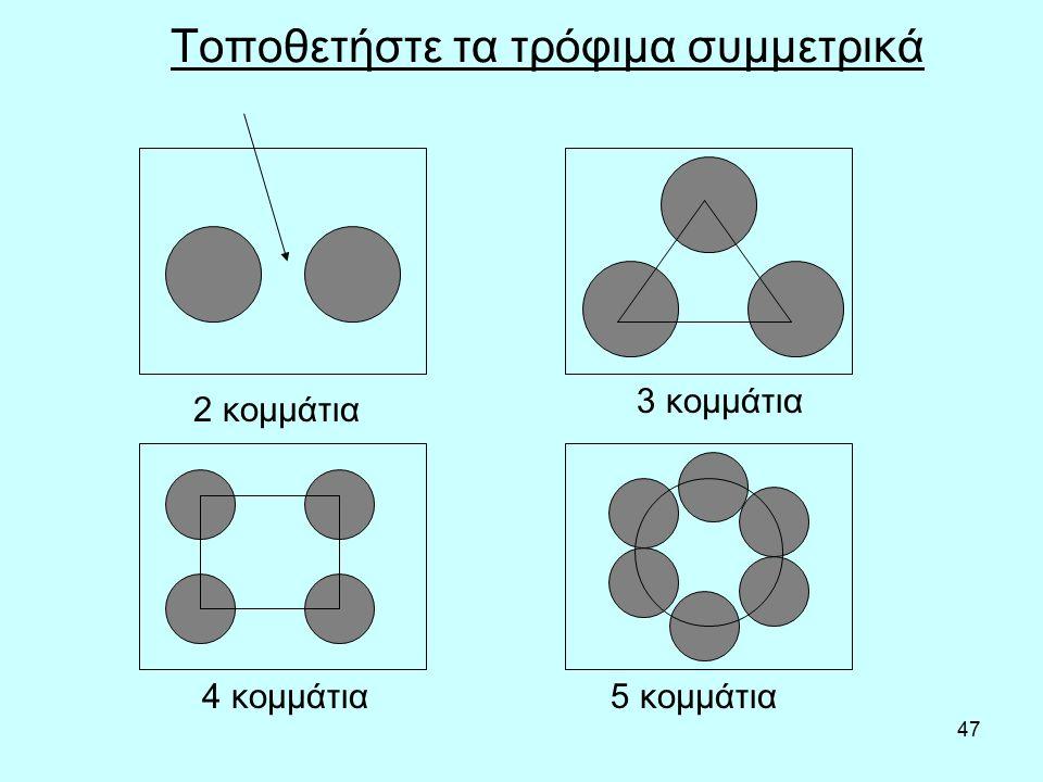 47 Τοποθετήστε τα τρόφιμα συμμετρικά 2 κομμάτια 5 κομμάτια4 κομμάτια 3 κομμάτια