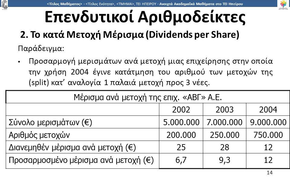 1414 -,, ΤΕΙ ΗΠΕΙΡΟΥ - Ανοιχτά Ακαδημαϊκά Μαθήματα στο ΤΕΙ Ηπείρου Επενδυτικοί Αριθμοδείκτες 2. Το κατά Μετοχή Μέρισμα (Dividends per Share) Παράδειγμ