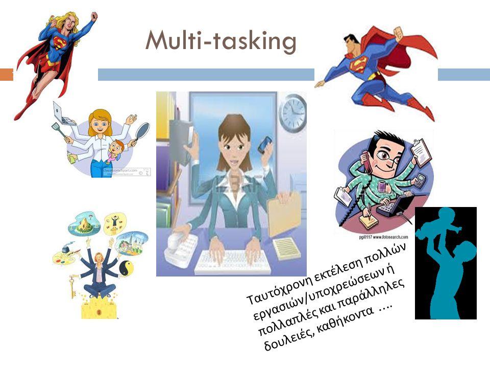 Multi-tasking 7 Ταυτόχρονη εκτέλεση πολλών εργασιών / υποχρεώσεων ή πολλαπλές και παράλληλες δουλειές, καθήκοντα ….