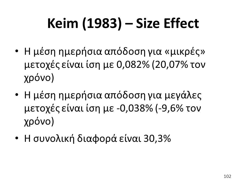 Keim (1983) – Size Effect Η μέση ημερήσια απόδοση για «μικρές» μετοχές είναι ίση με 0,082% (20,07% τον χρόνο) Η μέση ημερήσια απόδοση για μεγάλες μετοχές είναι ίση με -0,038% (-9,6% τον χρόνο) Η συνολική διαφορά είναι 30,3% 102
