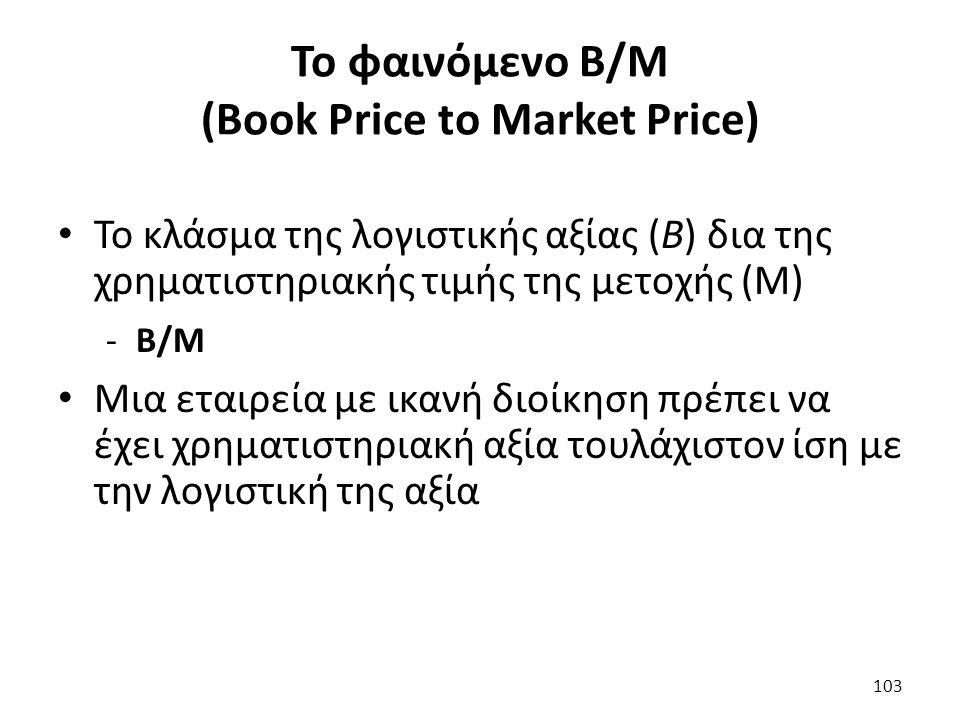 Το φαινόμενο Β/Μ (Book Price to Market Price) Το κλάσμα της λογιστικής αξίας (B) δια της χρηματιστηριακής τιμής της μετοχής (M) -B/M Μια εταιρεία με ικανή διοίκηση πρέπει να έχει χρηματιστηριακή αξία τουλάχιστον ίση με την λογιστική της αξία 103