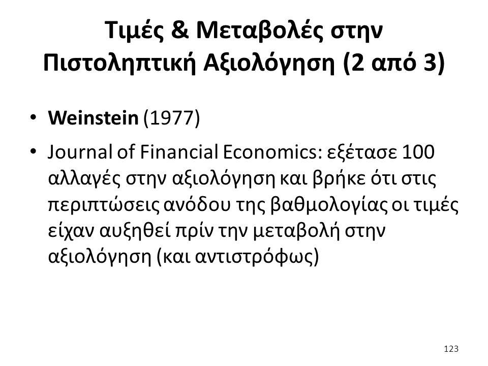 Τιμές & Μεταβολές στην Πιστοληπτική Αξιολόγηση (2 από 3) Weinstein (1977) Journal of Financial Economics: εξέτασε 100 αλλαγές στην αξιολόγηση και βρήκε ότι στις περιπτώσεις ανόδου της βαθμολογίας οι τιμές είχαν αυξηθεί πρίν την μεταβολή στην αξιολόγηση (και αντιστρόφως) 123