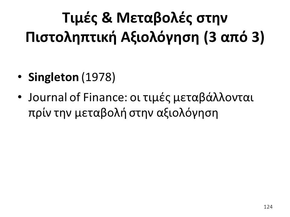 Τιμές & Μεταβολές στην Πιστοληπτική Αξιολόγηση (3 από 3) Singleton (1978) Journal of Finance: οι τιμές μεταβάλλονται πρίν την μεταβολή στην αξιολόγηση 124