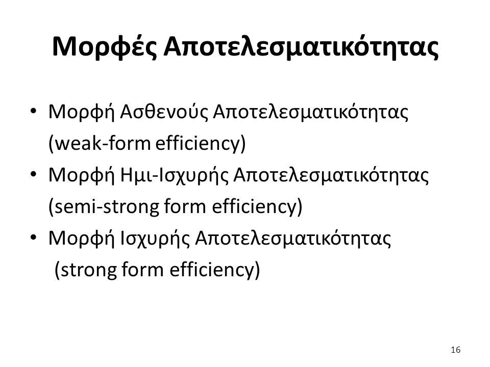 Μορφές Αποτελεσματικότητας Μορφή Ασθενούς Αποτελεσματικότητας (weak-form efficiency) Μορφή Ημι-Ισχυρής Αποτελεσματικότητας (semi-strong form efficiency) Μορφή Ισχυρής Αποτελεσματικότητας (strong form efficiency) 16