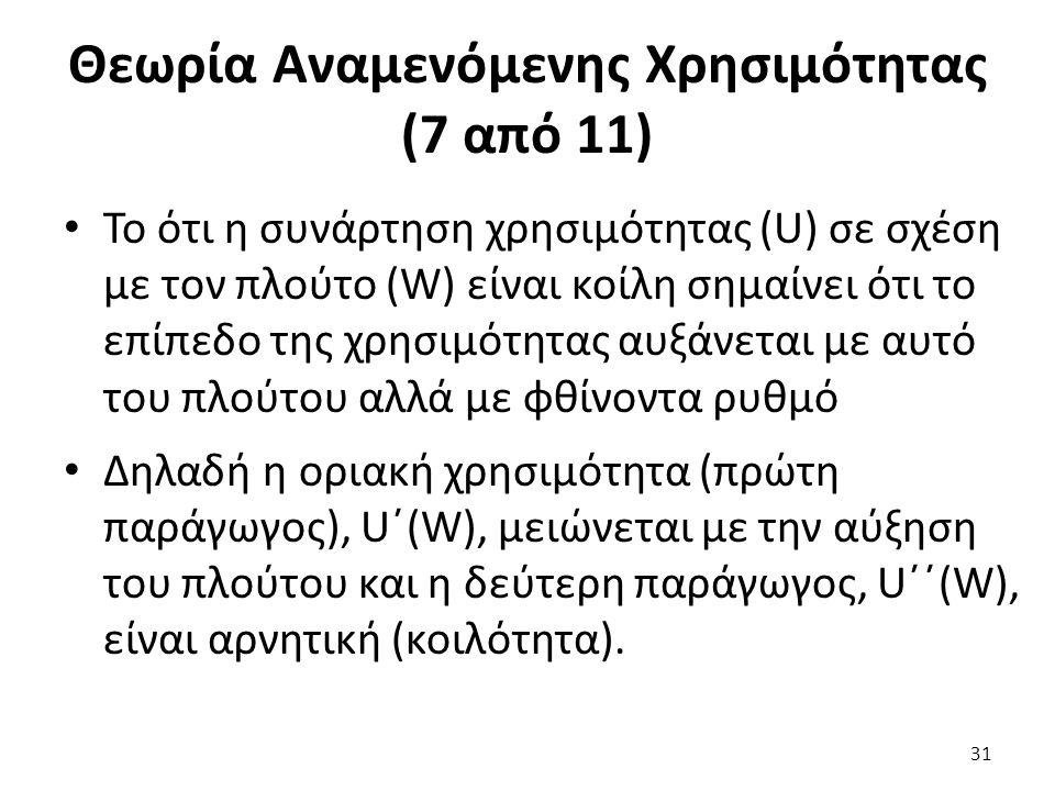 Θεωρία Αναμενόμενης Χρησιμότητας (7 από 11) Το ότι η συνάρτηση χρησιμότητας (U) σε σχέση με τον πλούτο (W) είναι κοίλη σημαίνει ότι το επίπεδο της χρησιμότητας αυξάνεται με αυτό του πλούτου αλλά με φθίνοντα ρυθμό Δηλαδή η οριακή χρησιμότητα (πρώτη παράγωγος), U΄(W), μειώνεται με την αύξηση του πλούτου και η δεύτερη παράγωγος, U΄΄(W), είναι αρνητική (κοιλότητα).