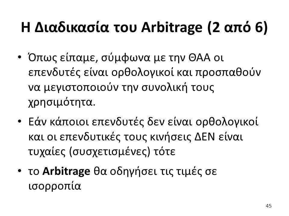 Η Διαδικασία του Arbitrage (2 από 6) Όπως είπαμε, σύμφωνα με την ΘΑΑ οι επενδυτές είναι ορθολογικοί και προσπαθούν να μεγιστοποιούν την συνολική τους χρησιμότητα.