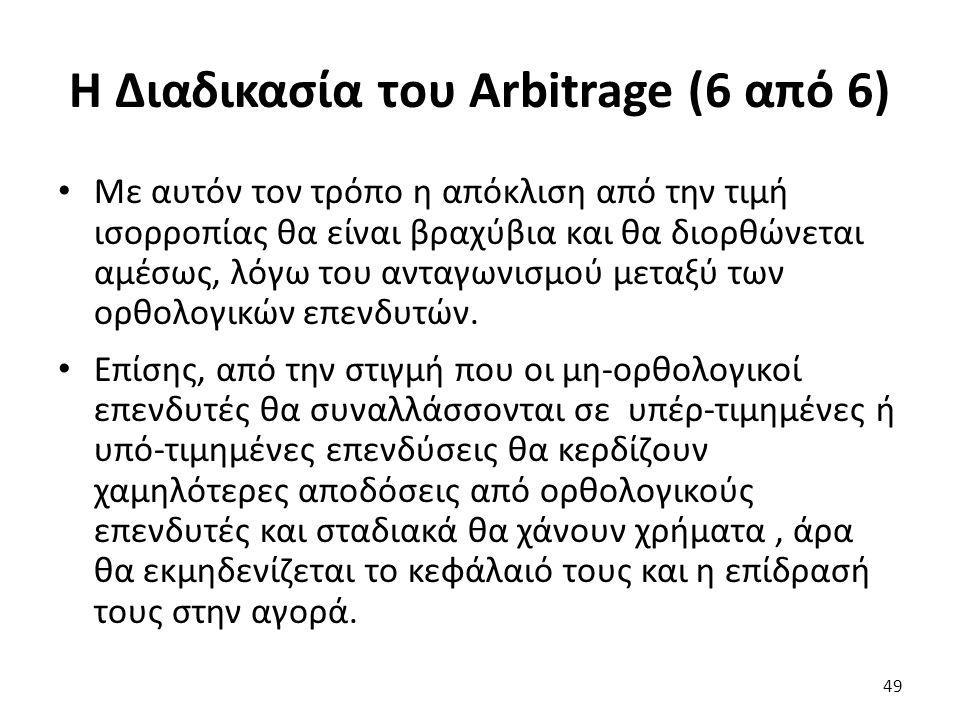 Η Διαδικασία του Arbitrage (6 από 6) Με αυτόν τον τρόπο η απόκλιση από την τιμή ισορροπίας θα είναι βραχύβια και θα διορθώνεται αμέσως, λόγω του ανταγωνισμού μεταξύ των ορθολογικών επενδυτών.