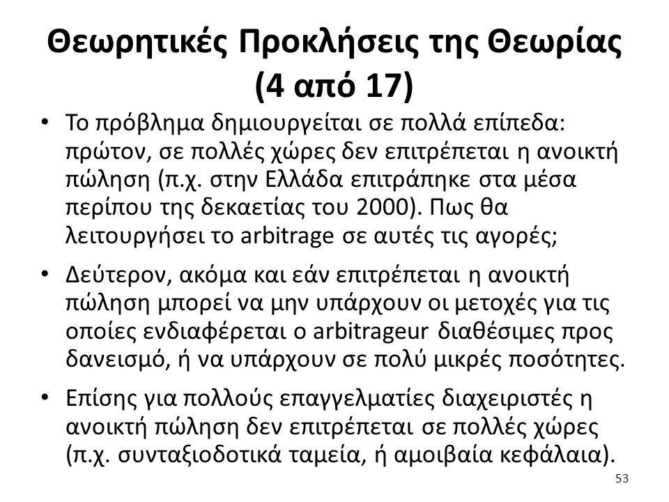 Θεωρητικές Προκλήσεις της Θεωρίας (4 από 17) Το πρόβλημα δημιουργείται σε πολλά επίπεδα: πρώτον, σε πολλές χώρες δεν επιτρέπεται η ανοικτή πώληση (π.χ.