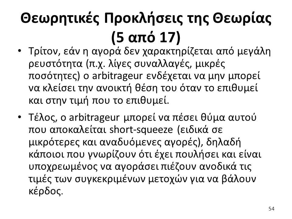 Θεωρητικές Προκλήσεις της Θεωρίας (5 από 17) Τρίτον, εάν η αγορά δεν χαρακτηρίζεται από μεγάλη ρευστότητα (π.χ.