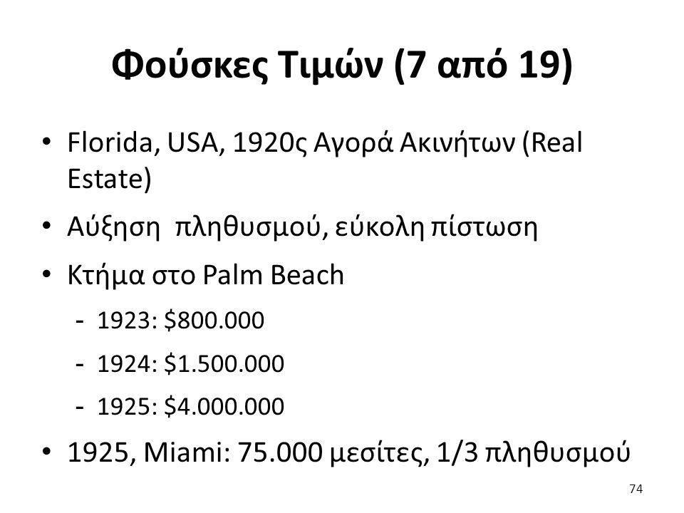Φούσκες Τιμών (7 από 19) Florida, USA, 1920ς Αγορά Ακινήτων (Real Estate) Αύξηση πληθυσμού, εύκολη πίστωση Κτήμα στο Palm Beach - 1923: $800.000 - 1924: $1.500.000 - 1925: $4.000.000 1925, Miami: 75.000 μεσίτες, 1/3 πληθυσμού 74
