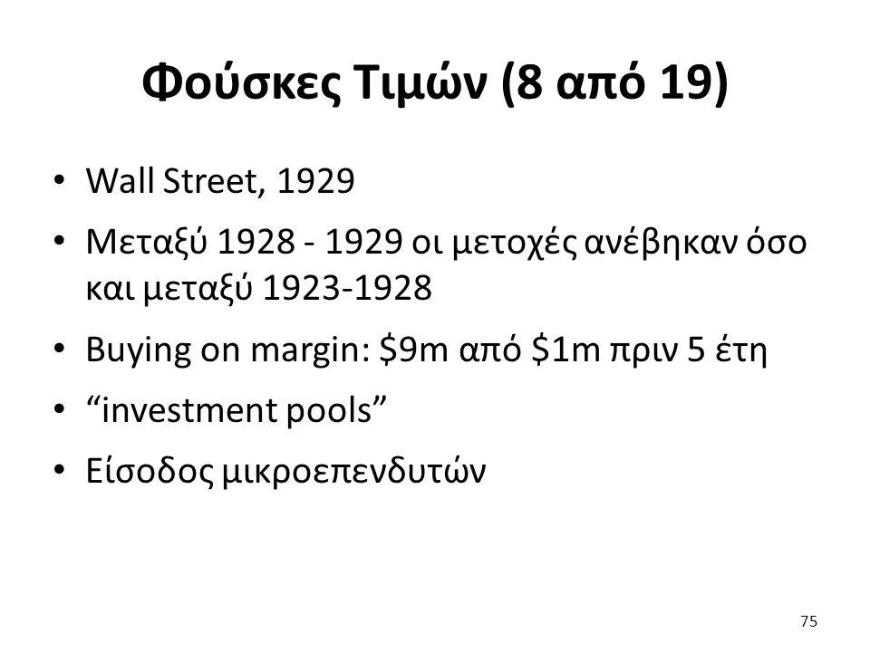 Φούσκες Τιμών (8 από 19) Wall Street, 1929 Μεταξύ 1928 - 1929 οι μετοχές ανέβηκαν όσο και μεταξύ 1923-1928 Buying on margin: $9m από $1m πριν 5 έτη investment pools Είσοδος μικροεπενδυτών 75
