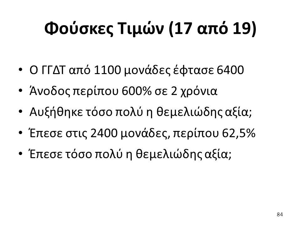 Φούσκες Τιμών (17 από 19) Ο ΓΓΔΤ από 1100 μονάδες έφτασε 6400 Άνοδος περίπου 600% σε 2 χρόνια Αυξήθηκε τόσο πολύ η θεμελιώδης αξία; Έπεσε στις 2400 μονάδες, περίπου 62,5% Έπεσε τόσο πολύ η θεμελιώδης αξία; 84