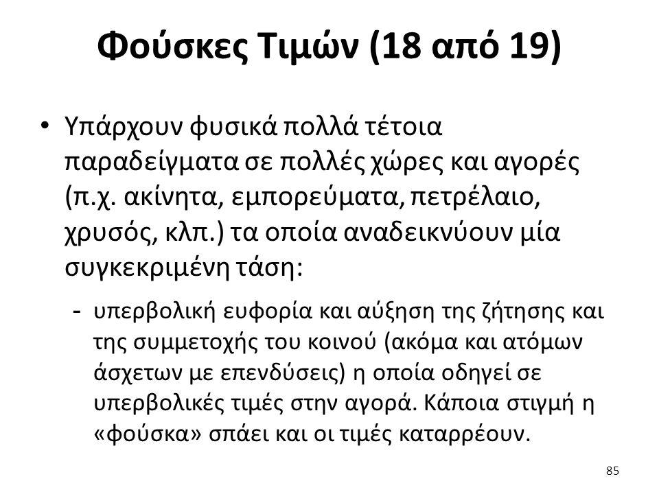 Φούσκες Τιμών (18 από 19) Υπάρχουν φυσικά πολλά τέτοια παραδείγματα σε πολλές χώρες και αγορές (π.χ.