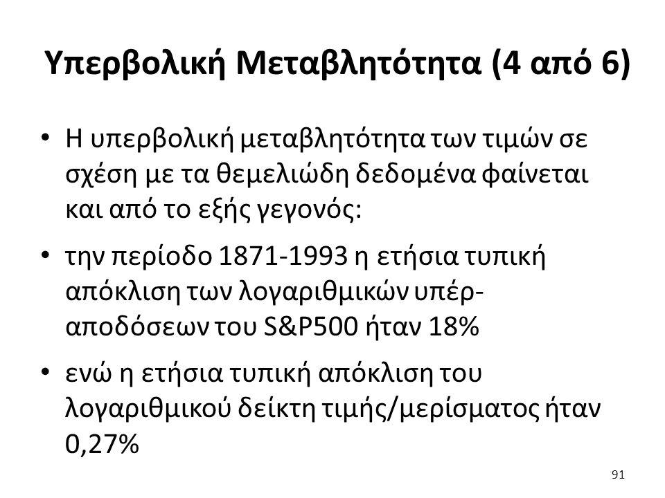 Υπερβολική Μεταβλητότητα (4 από 6) Η υπερβολική μεταβλητότητα των τιμών σε σχέση με τα θεμελιώδη δεδομένα φαίνεται και από το εξής γεγονός: την περίοδο 1871-1993 η ετήσια τυπική απόκλιση των λογαριθμικών υπέρ- αποδόσεων του S&P500 ήταν 18% ενώ η ετήσια τυπική απόκλιση του λογαριθμικού δείκτη τιμής/μερίσματος ήταν 0,27% 91