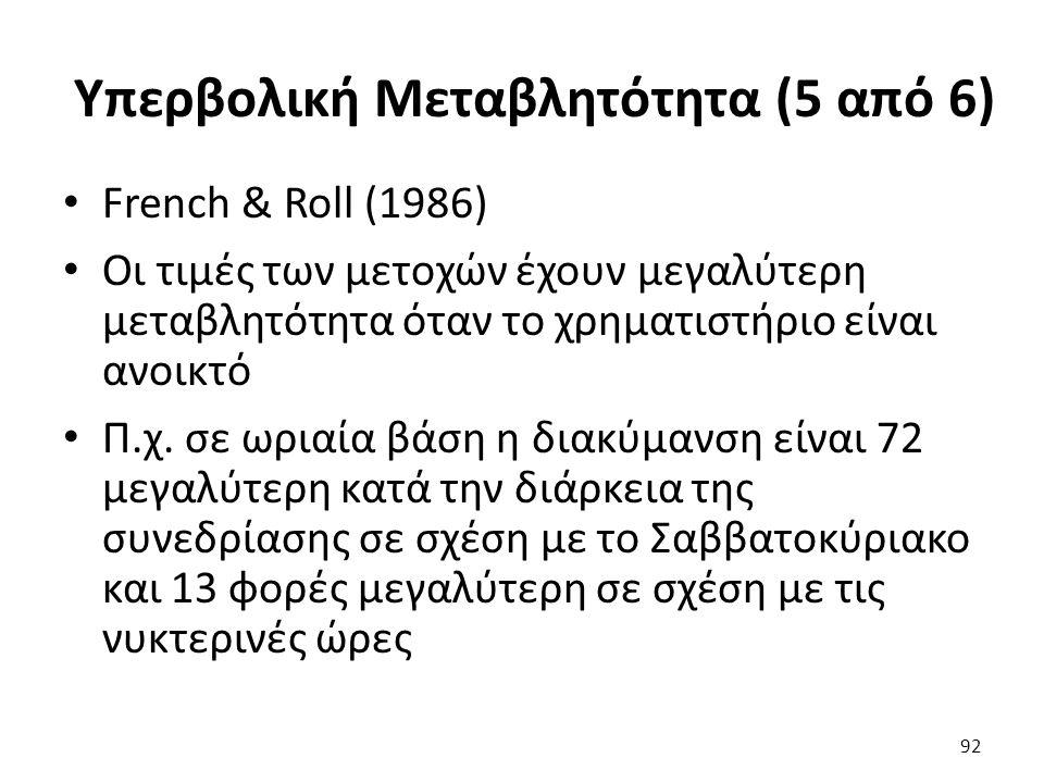 Υπερβολική Μεταβλητότητα (5 από 6) French & Roll (1986) Οι τιμές των μετοχών έχουν μεγαλύτερη μεταβλητότητα όταν το χρηματιστήριο είναι ανοικτό Π.χ.