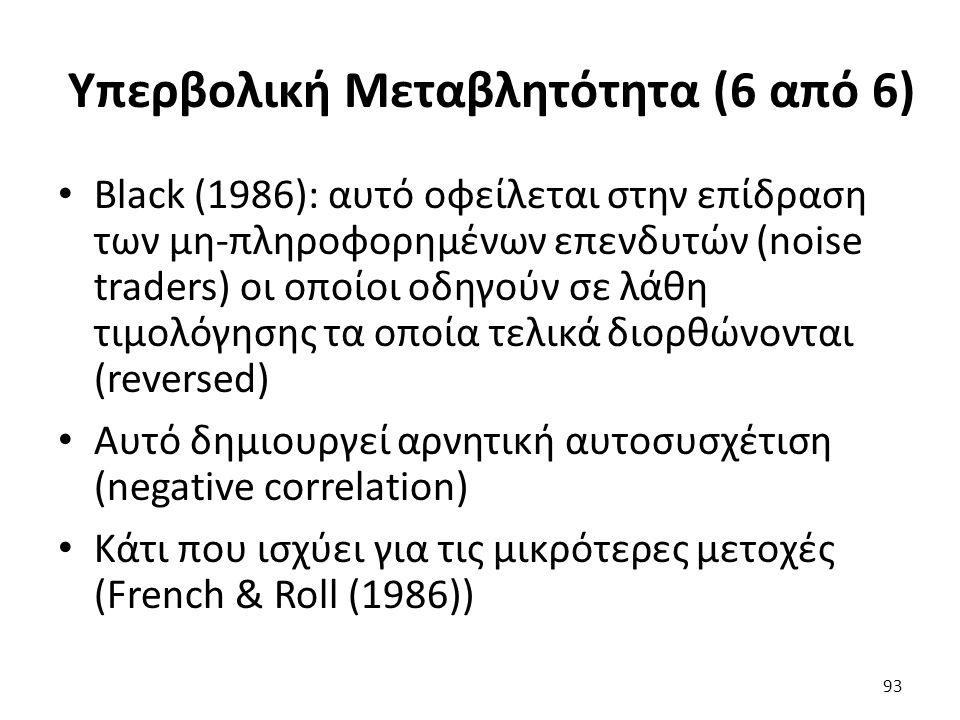 Υπερβολική Μεταβλητότητα (6 από 6) Black (1986): αυτό οφείλεται στην επίδραση των μη-πληροφορημένων επενδυτών (noise traders) οι οποίοι οδηγούν σε λάθη τιμολόγησης τα οποία τελικά διορθώνονται (reversed) Αυτό δημιουργεί αρνητική αυτοσυσχέτιση (negative correlation) Κάτι που ισχύει για τις μικρότερες μετοχές (French & Roll (1986)) 93