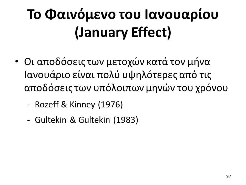 Το Φαινόμενο του Ιανουαρίου (January Effect) Οι αποδόσεις των μετοχών κατά τον μήνα Ιανουάριο είναι πολύ υψηλότερες από τις αποδόσεις των υπόλοιπων μηνών του χρόνου -Rozeff & Kinney (1976) -Gultekin & Gultekin (1983) 97