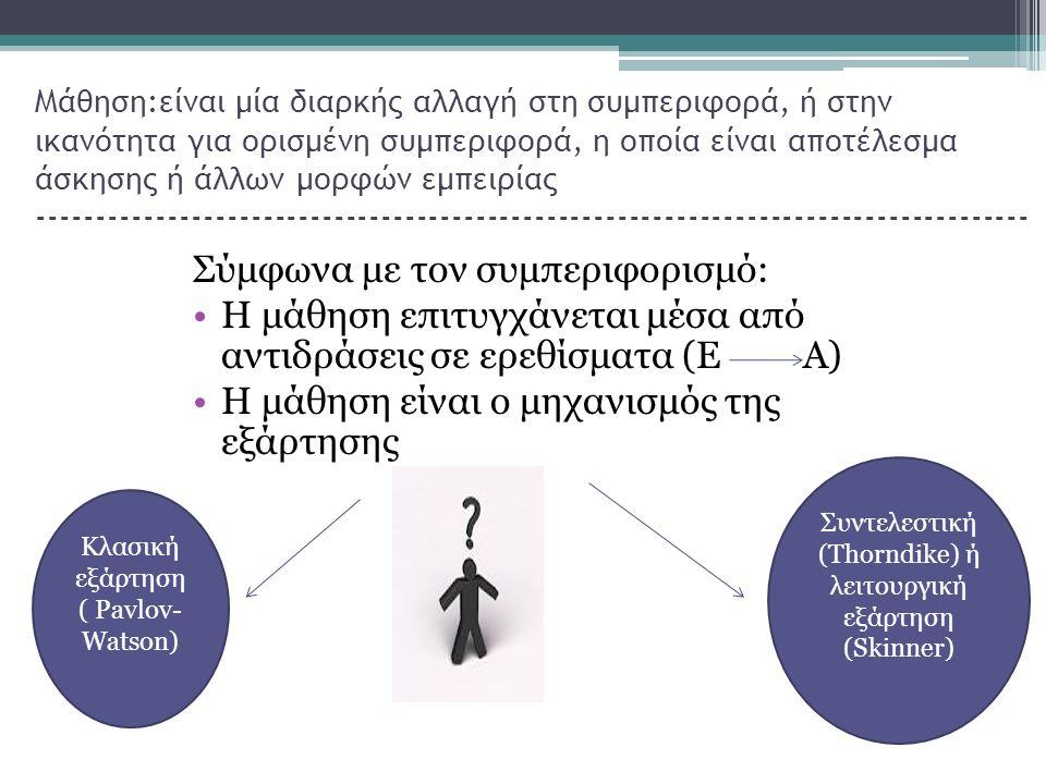 Μάθηση:είναι μία διαρκής αλλαγή στη συμπεριφορά, ή στην ικανότητα για ορισμένη συμπεριφορά, η οποία είναι αποτέλεσμα άσκησης ή άλλων μορφών εμπειρίας ------------------------------------------------------------------------------------ Σύμφωνα με τον συμπεριφορισμό: Η μάθηση επιτυγχάνεται μέσα από αντιδράσεις σε ερεθίσματα (Ε Α) Η μάθηση είναι ο μηχανισμός της εξάρτησης Κλασική εξάρτηση ( Pavlov- Watson) Συντελεστική (Thorndike) ή λειτουργική εξάρτηση (Skinner)
