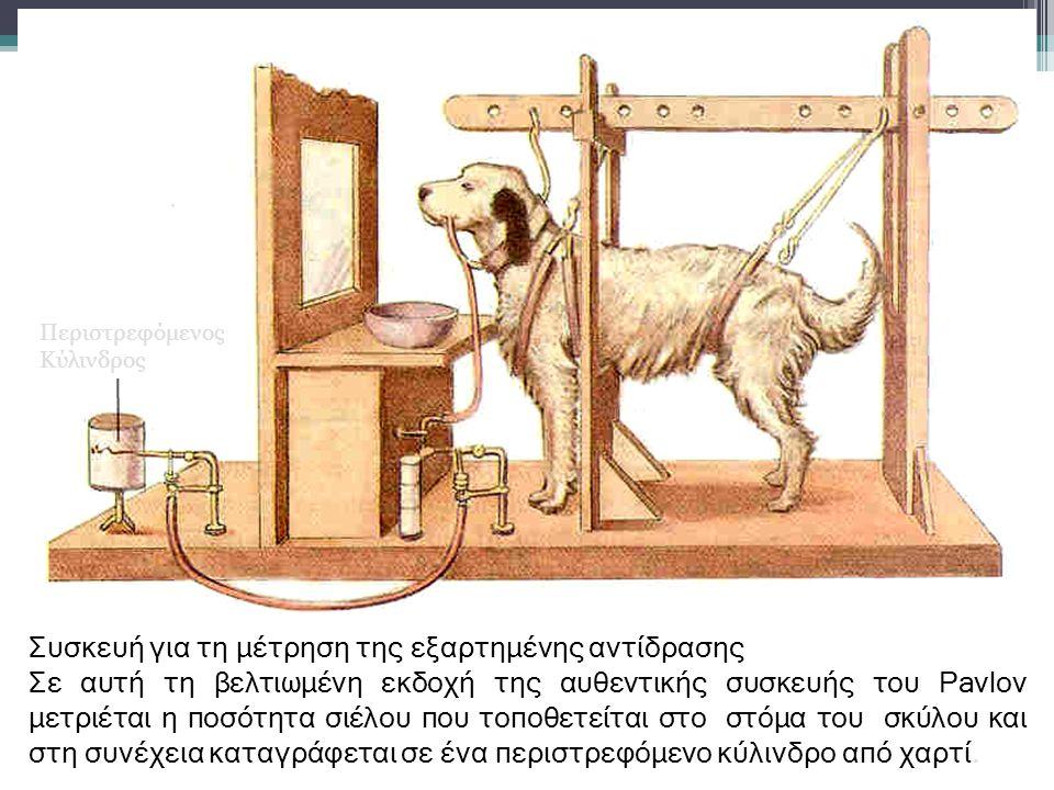 Συσκευή για τη μέτρηση της εξαρτημένης αντίδρασης Σε αυτή τη βελτιωμένη εκδοχή της αυθεντικής συσκευής του Pavlov μετριέται η ποσότητα σιέλου που τοποθετείται στο στόμα του σκύλου και στη συνέχεια καταγράφεται σε ένα περιστρεφόμενο κύλινδρο από χαρτί.