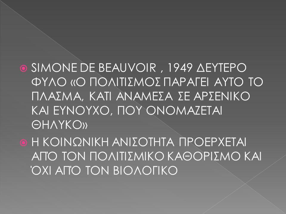  SIMONE DE BEAUVOIR, 1949 ΔΕΥΤΕΡΟ ΦΥΛΟ «Ο ΠΟΛΙΤΙΣΜΟΣ ΠΑΡΑΓΕΙ ΑΥΤΟ ΤΟ ΠΛΑΣΜΑ, ΚΑΤΙ ΑΝΑΜΕΣΑ ΣΕ ΑΡΣΕΝΙΚΟ ΚΑΙ ΕΥΝΟΥΧΟ, ΠΟΥ ΟΝΟΜΑΖΕΤΑΙ ΘΗΛΥΚΟ»  Η ΚΟΙΝΩΝΙΚΗ ΑΝΙΣΟΤΗΤΑ ΠΡΟΕΡΧΕΤΑΙ ΑΠΌ ΤΟΝ ΠΟΛΙΤΙΣΜΙΚΟ ΚΑΘΟΡΙΣΜΟ ΚΑΙ ΌΧΙ ΑΠΌ ΤΟΝ ΒΙΟΛΟΓΙΚΟ