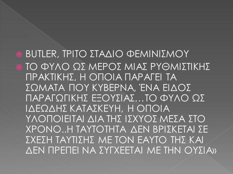  BUTLER, ΤΡΙΤΟ ΣΤΑΔΙΟ ΦΕΜΙΝΙΣΜΟΥ  ΤΟ ΦΥΛΟ ΩΣ ΜΕΡΟΣ ΜΙΑΣ ΡΥΘΜΙΣΤΙΚΗΣ ΠΡΑΚΤΙΚΗΣ, Η ΟΠΟΙΑ ΠΑΡΑΓΕΙ ΤΑ ΣΩΜΑΤΑ ΠΟΥ ΚΥΒΕΡΝΑ, ΈΝΑ ΕΙΔΟΣ ΠΑΡΑΓΩΓΙΚΗΣ ΕΞΟΥΣΙΑΣ…ΤΟ ΦΥΛΟ ΩΣ ΙΔΕΩΔΗΣ ΚΑΤΑΣΚΕΥΗ, Η ΟΠΟΙΑ ΥΛΟΠΟΙΕΙΤΑΙ ΔΙΑ ΤΗΣ ΙΣΧΥΟΣ ΜΕΣΑ ΣΤΟ ΧΡΟΝΟ..Η ΤΑΥΤΟΤΗΤΑ ΔΕΝ ΒΡΙΣΚΕΤΑΙ ΣΕ ΣΧΕΣΗ ΤΑΥΤΙΣΗΣ ΜΕ ΤΟΝ ΕΑΥΤΟ ΤΗΣ ΚΑΙ ΔΕΝ ΠΡΕΠΕΙ ΝΑ ΣΥΓΧΕΕΤΑΙ ΜΕ ΤΗΝ ΟΥΣΙΑ»