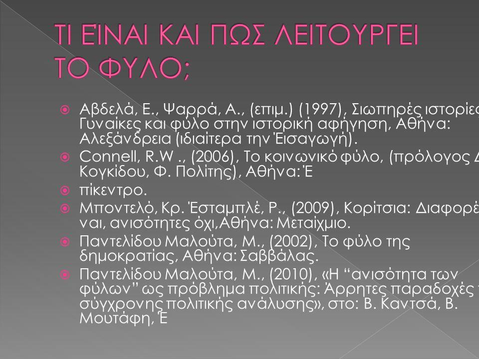  Aβδελά, E., Ψαρρά, A., (επιμ.) (1997), Σιωπηρές ιστορίες: Γυναίκες και φύλο στην ιστορική αφήγηση, Αθήνα: Αλεξάνδρεια (ιδιαίτερα την Έισαγωγή).