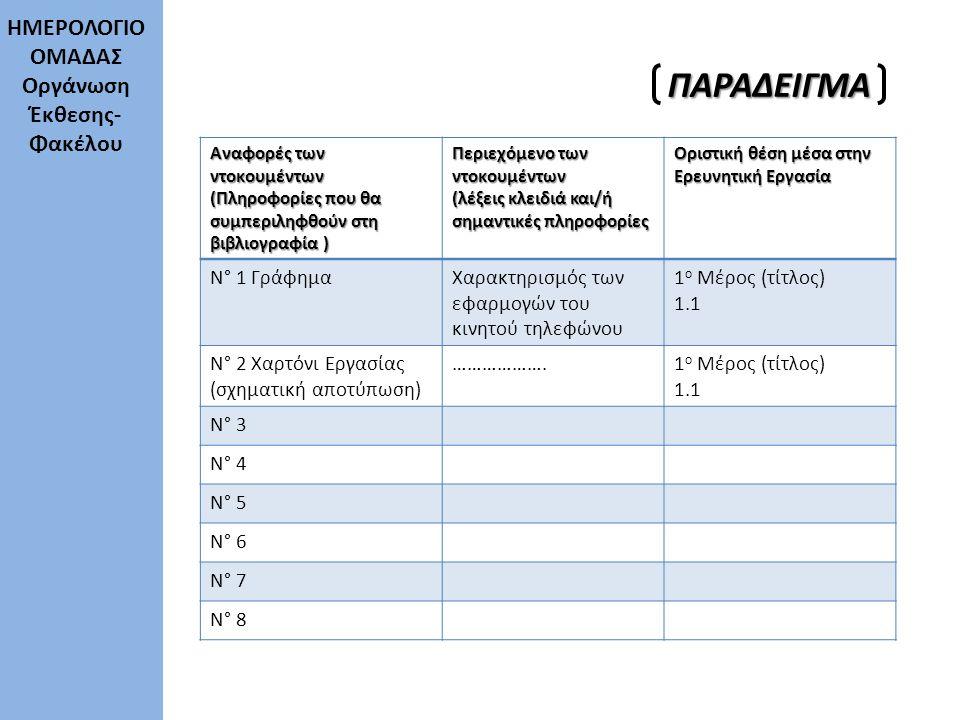 Αναφορές των ντοκουμέντων (Πληροφορίες που θα συμπεριληφθούν στη βιβλιογραφία ) Περιεχόμενο των ντοκουμέντων (λέξεις κλειδιά και/ή σημαντικές πληροφορ